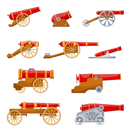 Establecer pistola Vintage. Imagen en color del disparo de cañón medieval sobre un fondo blanco. Estilo de dibujos animados. El tema de la guerra y la agresión. Ilustración vectorial de stock