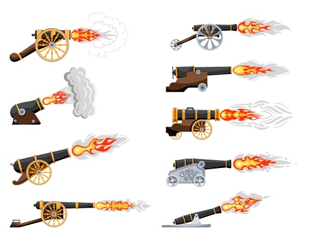 Set Vintage gun. Color image of medieval cannon firing on a white background. Cartoon style. Collection Subject of war and aggression. Stock vector illustration Vetores