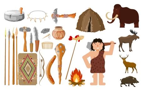 Conjunto de estilo de dibujos animados de objetos de hombre primitivo sobre un fondo blanco Objetos de vida y caza siluetas de animales, vivienda y hombre Ilustración vectorial de una colección de herramientas de un hombre de las cavernas