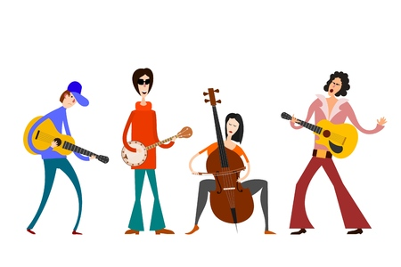 Street Orchestra. Figures of musicians with musical instruments on a white background. Vector illustration of a street band in the style of Cartoon  イラスト・ベクター素材