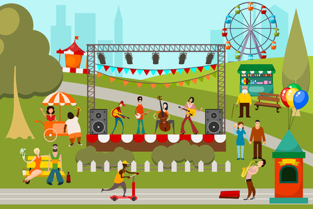 Color image of a summer musical street festival with figures of musicians, ice cream and fast food vendors, attractions and entertainment. Vector illustration of a city holiday 向量圖像