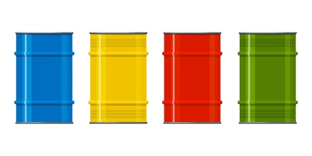 Set of multi-colored metal barrels on a white background. Containers for liquid products. Element of design. Vector illustration
