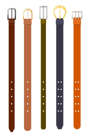 Waist leather is colored in a dark and light, thick and thin strap. Set of male accessories on a white background. Vector illustration Ilustrace