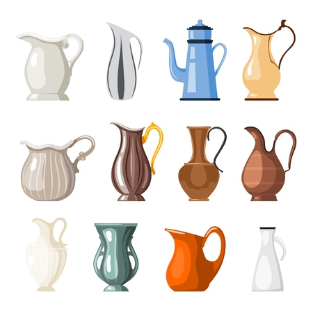 Set of colored vases and jugs in cartoon style on a white background collection of  vessels for vector illustration