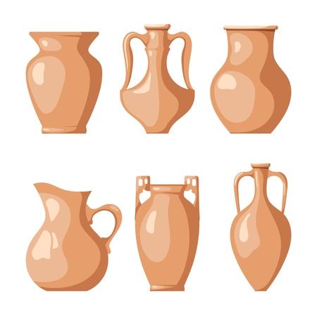Conjunto de jarras de barro sobre un fondo blanco. Colección de cántaros para líquido y grano. Ilustración de vector de un plato de barro