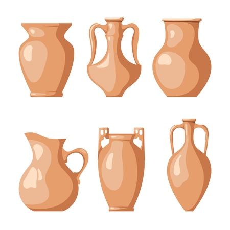 Set of clay jugs on a white background. Collection of a pitchers for liquid and grain. Vector illustration of a dish of clay Illustration