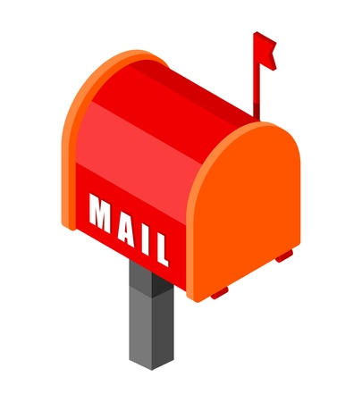 Red mailbox with in isometric style on a white background. Vector illustration of mail icon, postbox, letter-box, p.o.b. Vecteurs