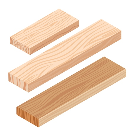 Realistic isometric rasped wooden timber plank for building construction or floring. Wooden board on a white background. Vector illustration