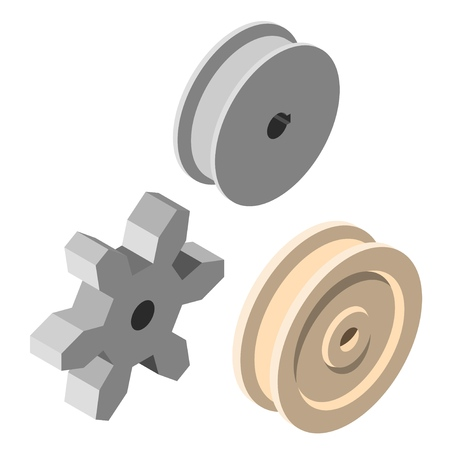 Set Steel round block and gear in isometric style on a white background. Vector illustration