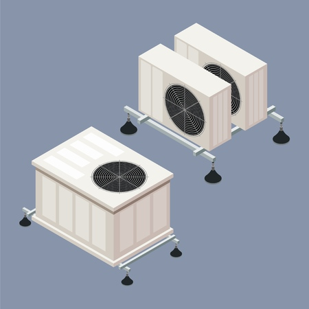 Air conditioning in isometric style on a colored background. A vector illustration of the element of home comfort, smart home Фото со стока - 127590282