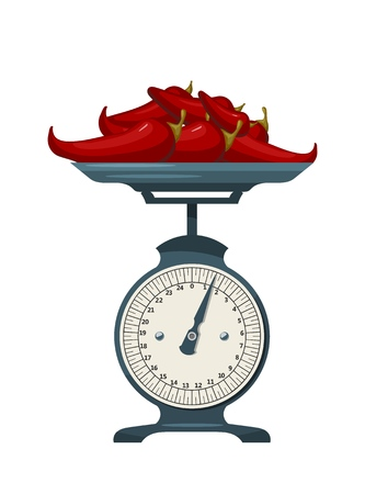 Domestic scales with pepper on a white background. Kitchen measuring device. Vector illustration Vektorové ilustrace