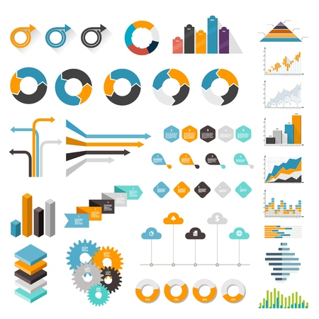 Set of charts and graphs for business. Design elements on a white background. Vector illustration Фото со стока - 127590286