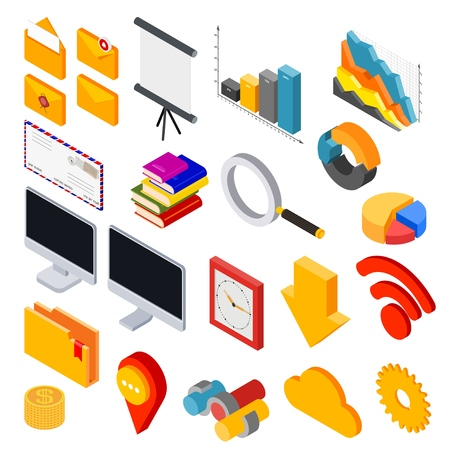 Set of elements for design in isometric style. Vector illustration of badges and symbols for business on white background.
