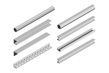 Metal pipes and corners in isometric style on a white background. Vector illustration Фото со стока - 127590289