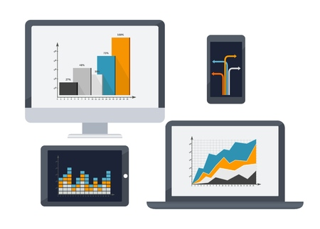 Screen laptop, tablet and smartphone with diagrams. Vector illustration