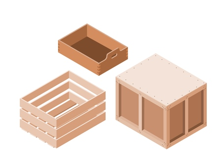 Set of wooden boxes in isometric style on a white background. Object, packaging. Vector illustration