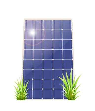 Solar panel with green grass on a white background. Vector illustation renewable energy. Ecological energy.