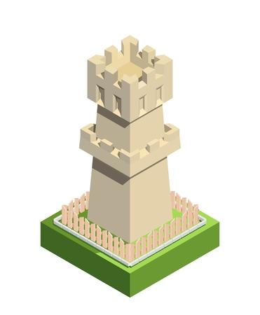 Ancient tower, retro castle element, trendy isometric style. Vector illustration Illusztráció