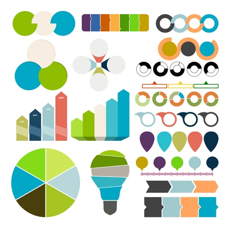 Set of charts and graphs for business. Design elements on a white background. Vector illustration Фото со стока - 127590297