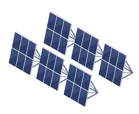 Solar battery on a white background. Symbol of renewable energy. Clean energy of the sun. Sign of modern technology, equipment for energy reproduction