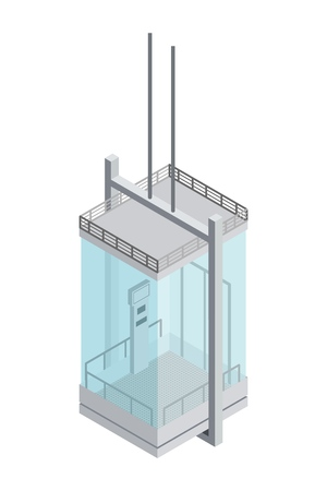 Image of a steel and glass panoramic elevator with transparent windows in isometric style on a white background Element of the building structure  lifting people to the floor Vector illustration Vettoriali
