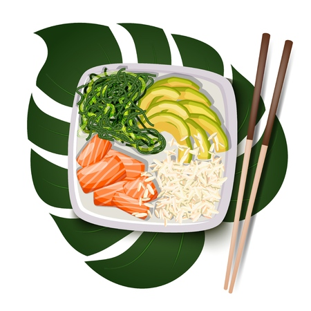 White square poke bowl with salmon, avocado, rice and sea kale on a tropical leaf on a white background with chopsticks. Trend Hawaiian food. Vector illustration of healthy food. Ilustracja
