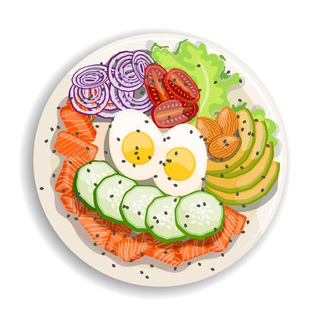 White round poke bowl with salmon, avocado,cucumber, egg, onion rings and tomato on a white background. Trend Hawaiian food. Vector illustration of healthy food. Ilustrace
