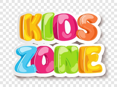 Arrière-plan de conception de bannière de jeu Kids Zone. Signe de zone enfant vecteur aire de jeux. Espace ludique pour l'enfance. Lettrage drôle de vecteur de zone d'enfants dans le fond transparent de sunburst comique Vecteurs