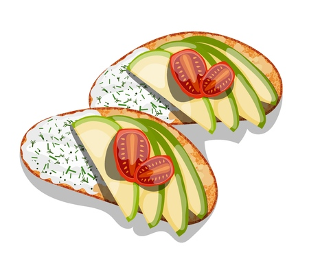 Beautifully plated avocado toast.  Sandwich with avocado mayonnaise, tomato. Vector illustration of vegetarian and healthy food.
