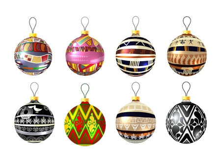 Set of unusual Christmas balls on a white background. Christmas decorations for the tree with tribal pattern. Ethnic toy for the holiday. Collection of vector illustrations of glass ornaments Фото со стока - 127339814