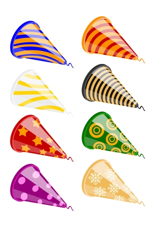 Set of festive crackers on a white background. Collections Bright colorful party poppers. Vector illustration Иллюстрация