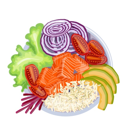 White round poke bowl with salmon, avocado, rice and onion ring, tomato on a white background. Trend Hawaiian food. Vector illustration of healthy food. Фото со стока - 127339817