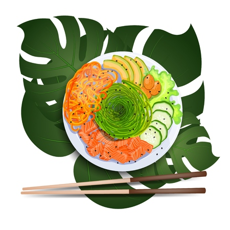 White round poke bowl with salmon, avocado,cucumber, carrot and seaweed on a tropical leaf with chopsticks on a white background. Trend Hawaiian food. Vector illustration of healthy food.