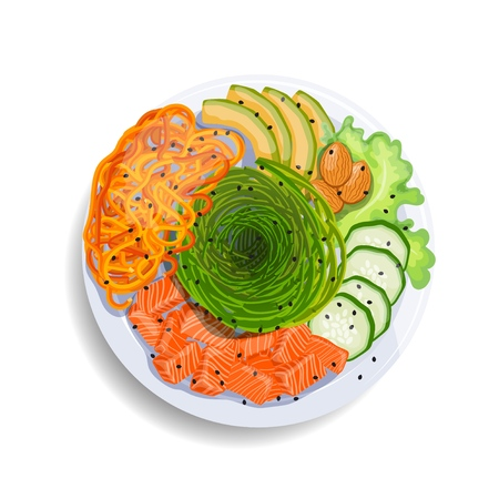 White round poke bowl with salmon, avocado,cucumber, carrot and seaweed on a white background. Trend Hawaiian food. Vector illustration of healthy food.