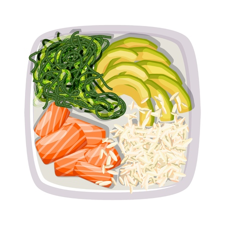 White square poke bowl with salmon, avocado, rice and sea kale on a white background. Trend Hawaiian food. Vector illustration of healthy food. Ilustracja