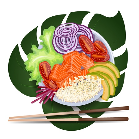 White round poke bowl with salmon, avocado, rice and onion ring, tomato on a white background on a tropical leaf with chopsticks. Trend Hawaiian food. Vector illustration of healthy food.