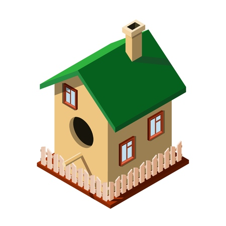 Cute birdhouse with elements of the house on a white background. Birdhouse with windows, fence, chimney and roof. Vector illustration