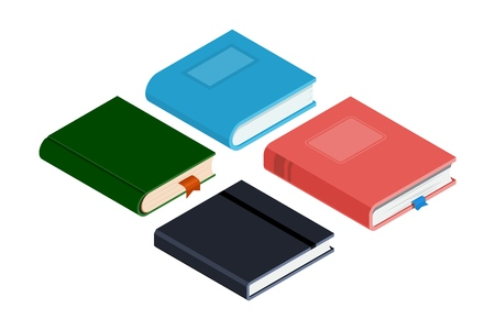 Set of different books in isometric style on a white background. Vector illustration of paper products for business, leisure, learning. Фото со стока - 127339823