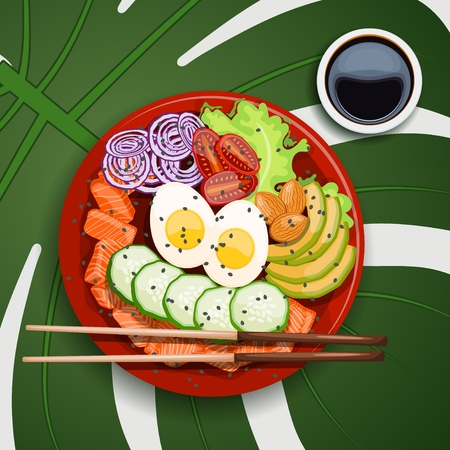 White round poke bowl with salmon, avocado, rice and onion ring, tomato with soy sauce on a white background on a tropical leaf with chopsticks Trend Hawaiian food. Vector illustration of healthy food