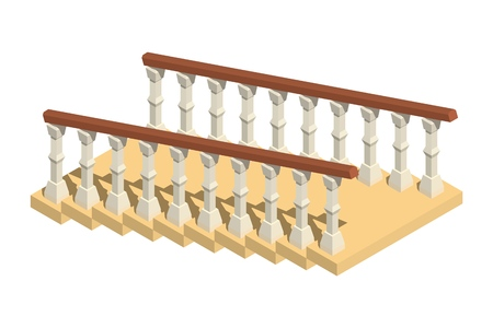 Staircase with railing in isometric style on a white background. Vector illustration Фото со стока - 127339825