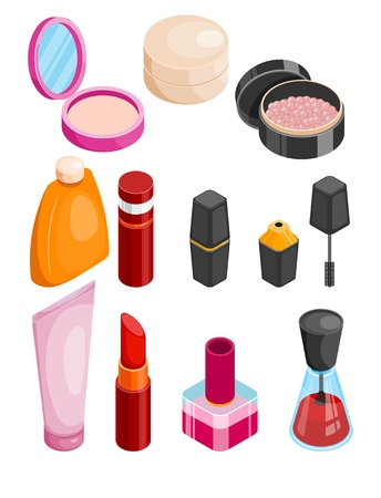 Cosmetics isometric collection. Female beauty products isometric set. Face or body care and treatment package. Vector isometric illustration on white background