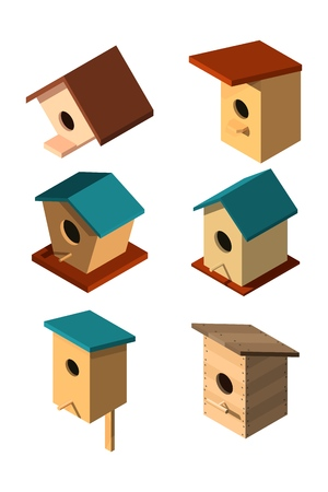 Set of volumetric birdhouses in isometric style on a white background House for the birds. Caring for nature and fauna Design of various birdhouses Vector illustration of a collection of nesting boxes Фото со стока - 127339830