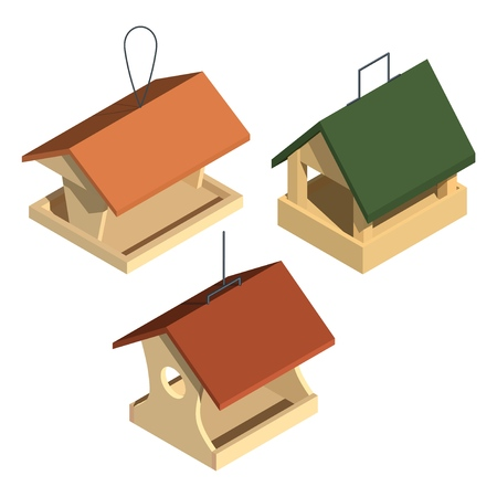Three wooden bird feeders on a white background. Device for feeding birds and animals. Rescue birds in the winter from hunger. Vector illustration