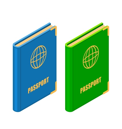 Two passports in isometric style on a white background. Vector illustration of official identity card for travel and residence, emigration and residence permit. Identity document sign