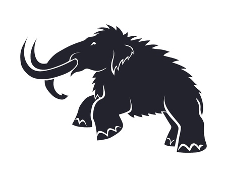 Black silhouettes of mammoths on a white background. Prehistoric animals of the ice age in various poses. Elements of nature and evolutionary development. Vector illustration Standard-Bild - 113659841