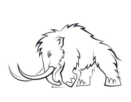 Siluetas negras de mamuts sobre un fondo blanco. Animales prehistóricos de la edad de hielo en varias poses. Elementos de la naturaleza y desarrollo evolutivo. Ilustración vectorial Ilustración de vector