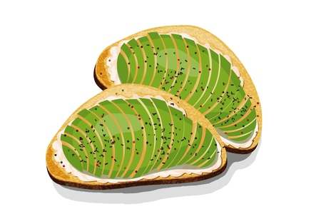 Avocado sandwich Slices of fresh bread with avocado slices, seeds and spices. Vector illustration of healthy vegetarian food on white background Иллюстрация