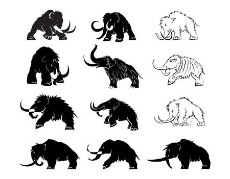 Ensemble de silhouettes noires de mammouths sur fond blanc. Animaux préhistoriques de l'ère glaciaire dans diverses poses. Éléments de la nature et développement évolutif. Illustration vectorielle Vecteurs
