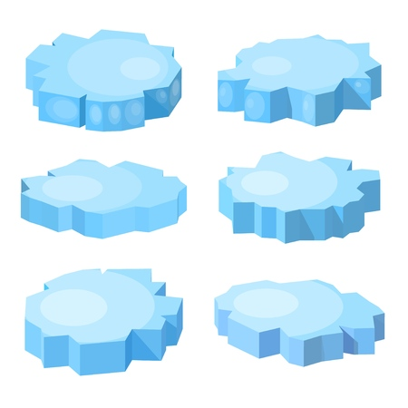 Set of blue ice floes in isometric style. Trend isometry ice on a white background. Vector illustration of design elements north sea natural phenomenon