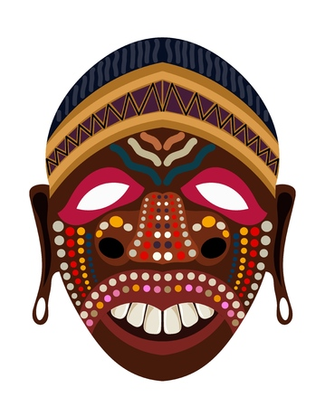 Cartun style ethnic mask tribal element of religion cult on a white background vector illustration